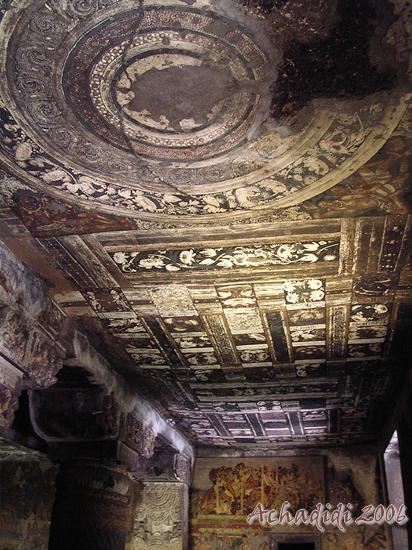 Аджанта, фото потолочной росписи