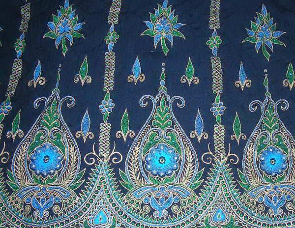 Печатный орнамент на юбке из вискозы, купленной в южной Индии
