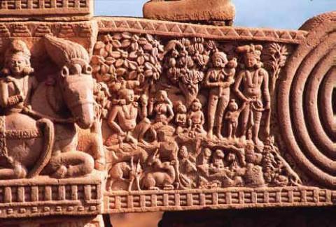Фрагмент, Вессантра Джатака, Северные ворота, внутренняя сторона. Принц Вессантра – это ипостась Будды в прошлом рождении.