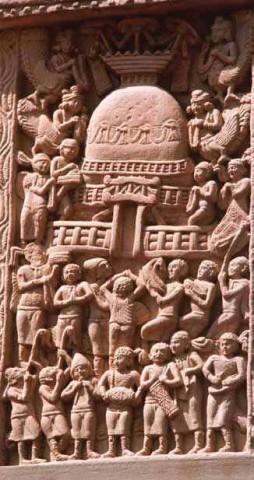Санчи. Поклонение Ступе, колонна, Северные ворота.