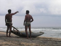Варкала, рыбаки