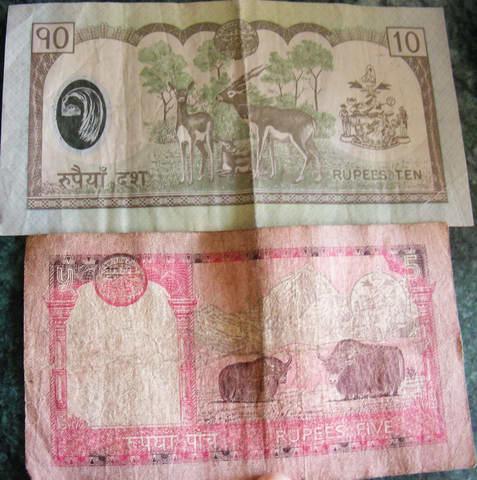 Непал, банкноты в 10 и 5 рупий